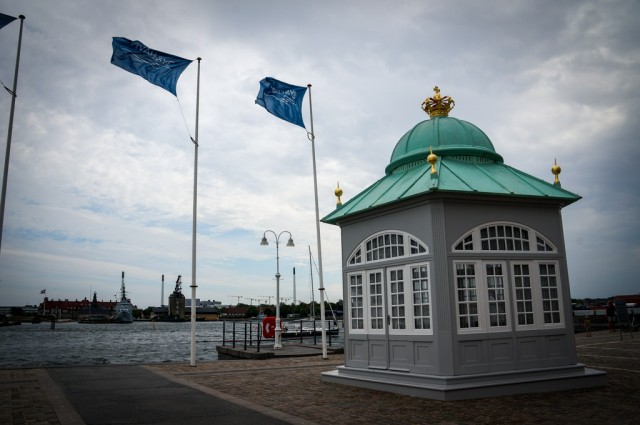 This is one of two Royal Pavilions on the wharf where the Royals wait for the yacht to anchor.